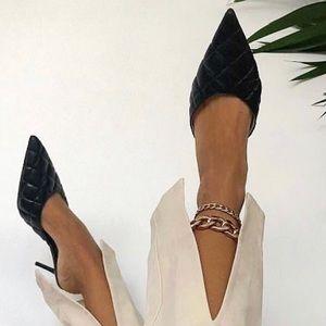 Zara quilted kitten heels